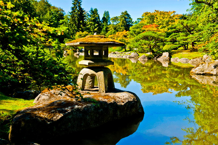 Japanese Lantern on Rock with Pond, Seattle Japanese Garden